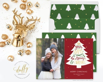 Merry and Bright Holiday Photo Card, Christmas Photo Card, Photo Christmas Card, Holiday Card, Christmas Card 5x7 Holiday Card - TWO SIDED