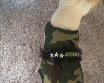 Camo Dog Dress, Army Brat Dog Dress Size Small, Veterans Day Dog Dress, Camo Dog Dress
