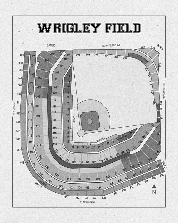 Vintage print of wrigley field seating chart blueprint chicago like this item malvernweather Choice Image