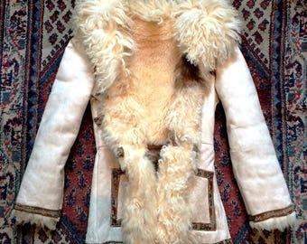 Flower in the Sun Vintage white 70's Penny Lane Afghan Sheepskin Coat