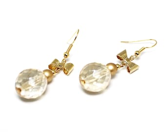 Gold bows and pearls earrings