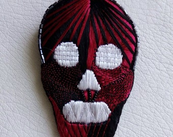 """Embroidered brooch """"L"""""""