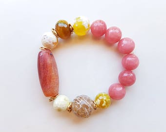 Handmade bracelet, gemstone bracelet, elastic bracelet, gemstone jewelry, bracelet