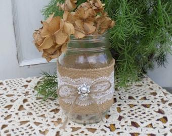 Burlap and Lace Mason Jar Wrap Pint or Quart Size, Rustic Wedding Decor, Rustic Party Decor
