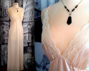 70s DEENA Nightgown - Lustrous Peach - Plunging Neckline & Ivory Lace Trimmed Bodice -  Spaghetti Straps - Vintage Nightgown - Size SMALL