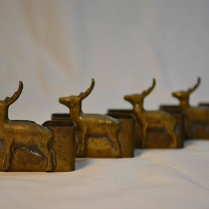 Delightful Set Of Five Brass Rectangular Reindeer Napkin Rings * Vaishali  International * Made In New Delhi Pictures Gallery