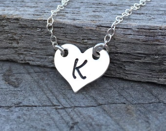 Sterling Silver Initial Heart Necklace