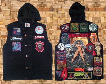 Battle Vest - Pre-Owned Denim Black Vest Hood with Patches + Extra 5 Woven Patches