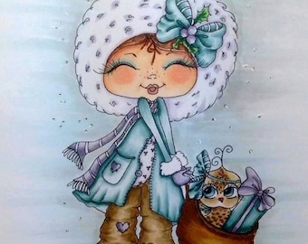 INSTANT DOWNLOAD Digital Digi Stamps Big Eye Big Head Dolls  My Besties Digi The Gift By Sherri Baldy