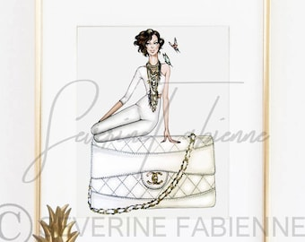 DOWNLOAD TO PRINT Illustration  / Chanel bag and Lady  A4 Size