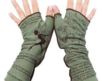 Peter Pan Writing Gloves - Fingerless Gloves, Arm Warmers, J.M. Barrie, Literary, Book Lover, Books, Reading