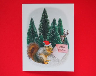 Santa Squirrel Trees Printable Christmas Card