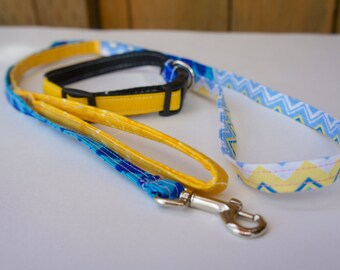 Small dog collar and leash set, MSU blue and yellow, Dogs of Bozeman, small dog fashion