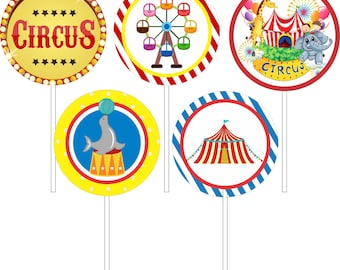 Топперы для десертов Цирк/ Circus Party cupcake toppers