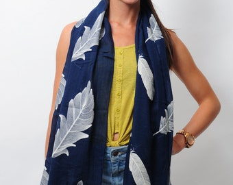 Navy Embroidered Big Feather Leaf Summer Scarf Boho Style Cotton Rich Scarves Boho Scarf Gift For Her Fashion Accessories Gift for Women