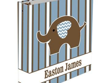 Custom Baby Memory Book - 3 ring binder - Baby Book Elephant Boy or Girl Baby book Stripes Chevron Baby Elephant