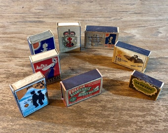 FREE WORLDWIDE SHIPPING - Swedish matches, 10 small match boxes from early 1900s Sweden