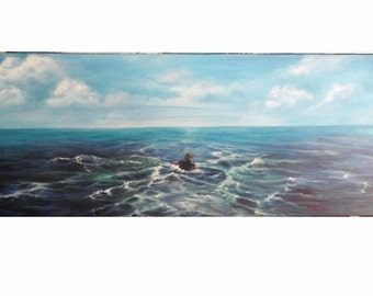 """REDUCED Seascape Oil Painting The Swimmer, Ocean Clouds Sky 12"""" x 36"""","""