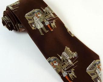 Vintage 1970s Tie Wide Fellini Brown City Life Pictorial Necktie