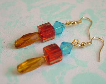 Red, Yellow, and Blue Glass Dangling Earrings
