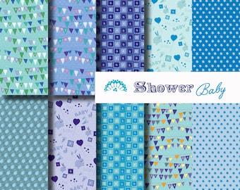 Digital paper Shower baby blue