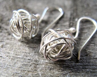 Sterling silver yarn ball earrings