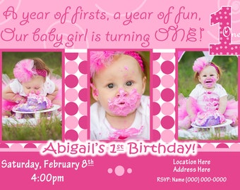 Everything One birthday party 1st Birthday Girl invitation 1st