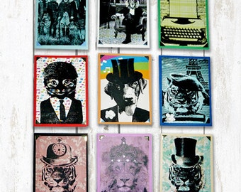 Hand Screen printed coloured cards (sizeA6)