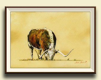 PRINT-Longhorn cattle bull  Cow painting print, farm nursery - Art Print by Juan Bosco