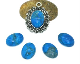 cabochon 13x18mm blue dyed howlite