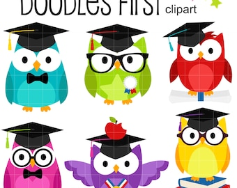 Graduate Owls Digital Clip Art for Scrapbooking Card Making Cupcake Toppers Paper Crafts