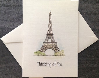 Thinking of You watercolour card set.  Eiffel Tower.   Free shipping to Canada/US!  Textured linen greeting cards. Set of 8 or 25.