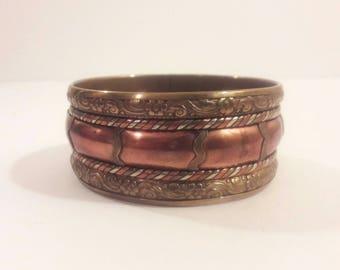 Tri Metal Copper Brass Silvertone Engraved Braided Boho India Wide Bangle Bracelet