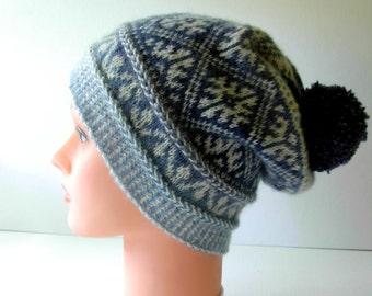 Knitted Hat Adult Teen Hat Autumn Winter Accessories handmade white blue hat