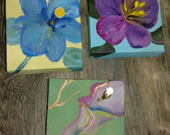 Original box paintings embellished with vintage glass stamen