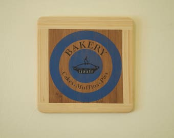 Square, wooden bakery sign