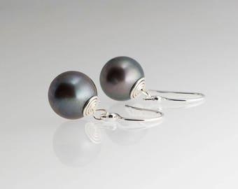 Black Pearl Earrings, Silver Earrings, Dainty Earrings, Black Pearl Jewelry, Long Earrings, Handmade Earrings, Gift Earrings