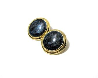 Vintage Avon Sparkle Blue Swirl Gold Earrings, Lightweight Blue Swirl Stud Earrings