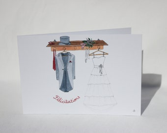 """Map postcard """"congratulations wedding"""" designed and painted by hand - also available in English"""