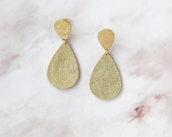 Featured listing image: Gold leather hourglass earrings | Minimalist earrings | Gold statement earrings | Gold teardrop earrings | Contemporary earrings