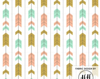 Arrow Tribal Fabric By The Yard - Mint Peach Gold Baby Nursery Bedding Quilting Crafting Print in Yards & Fat Quarter