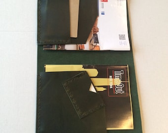 Green Portfolio Notepad Case/Legal Ruled Tops Professional Legal Pad Portfolio For Men And Women/Leather Notepad Case/Many Pocket