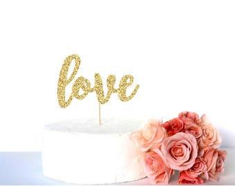 Gold glitter love cake topper, 'love' anniversary or wedding caketopper, glitter cardstock paper cake decoration