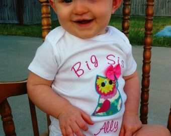 Big Sister Owl Shirt - Big Sister Shirt - Big Sis Owl Shirt - Big Brother Shirt - Little Sister or Brother Bodysuit