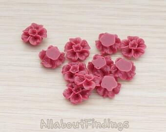 CBC138-PL // Plum Colored Morning Glory Flower Flat Back Cabochon, 6 Pc