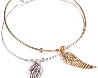 Bangle Guardian Angel Wing Bracelet (Gold or SIlver)