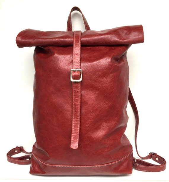 Leather backpack , rolling backpack , backpack leather , red leather backpack