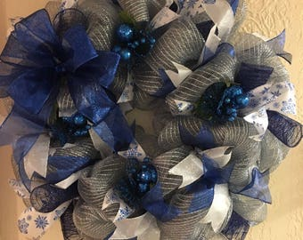 Blue and Silver Mesh Winter wreath with fancy ornaments