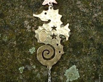 Celestial Seahorse Pendant, SquareHare, UK,  Free Postage, Vegan Jewelery Sea Witch Mermaid