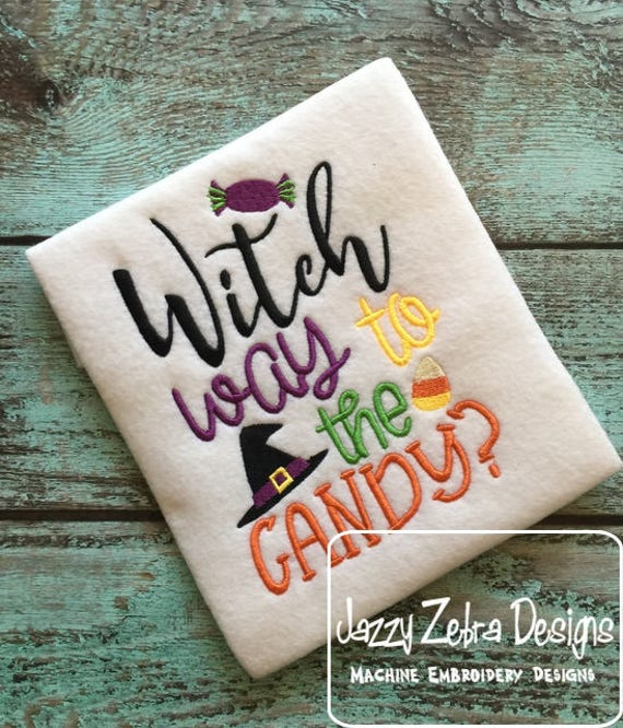 Witch way to the candy saying Halloween embroidery design - halloween embroidery design - witch embroidery design - saying embroidery design